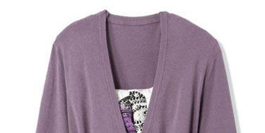 purple cardigan with skinny black belt