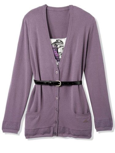 purple cardigan with skinny black belt