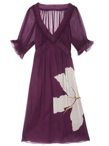 sheer purple dress with white flower