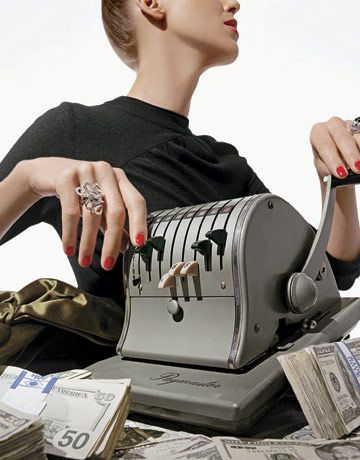 model with a cash register