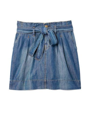 denim skirt with bow from uniqlo