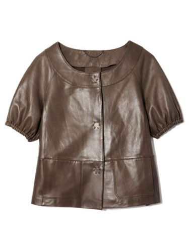 brown leather jacket br monogram banana republic