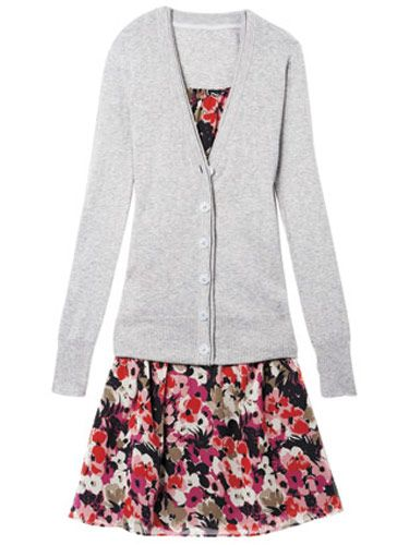 gray cardigan by american eagle outfitters floral dress by the limited