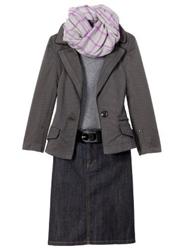 denim skirts and cheap blazers