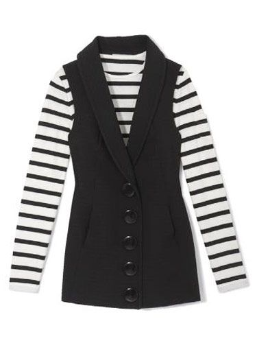 black vest and black and white striped top