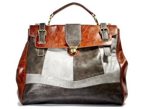 brown white and gray leather bag