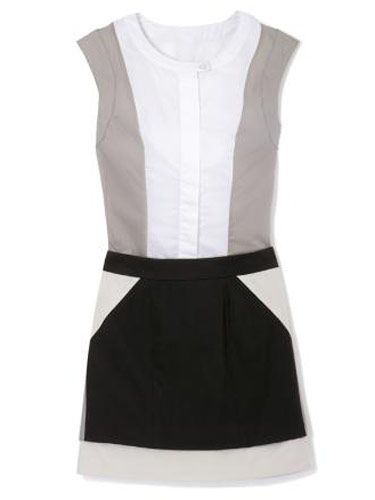 gray white and black top and skirt