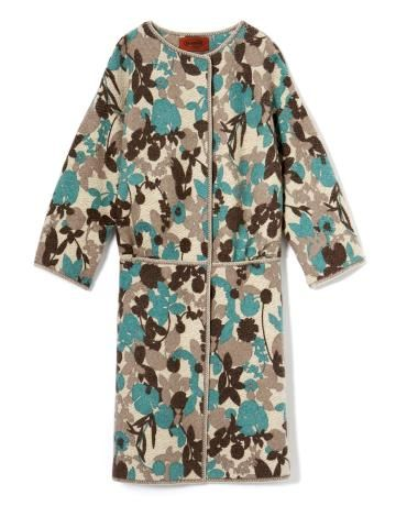 brown and blue floral coat