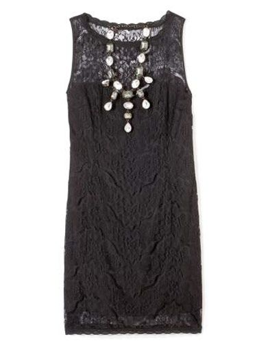 black lace dress and necklace