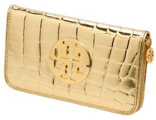 troy burch metallic croc zip around wallet