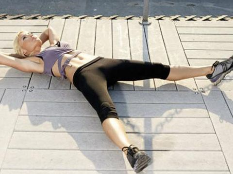 woman working out on pier