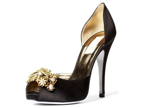 black open toe high heel with gold jewels at toe