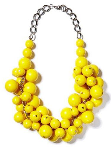 necklace with bright yellow bead cluster