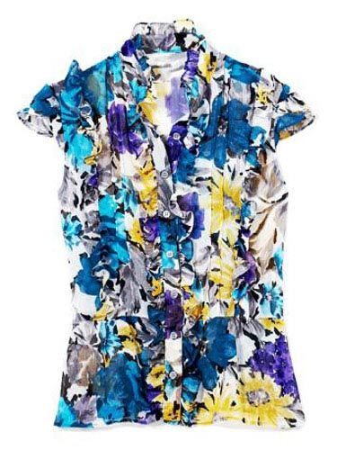 bright floral short sleeve shirt