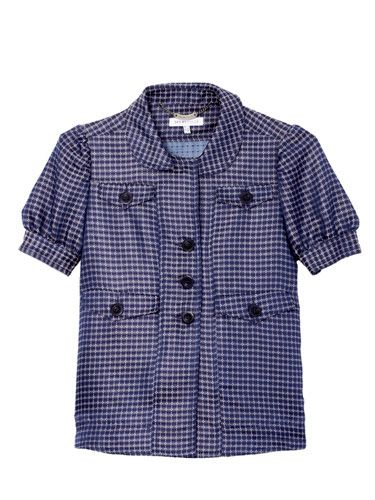 checkered short sleeve jacket