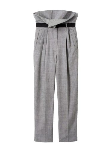 belted gray pants