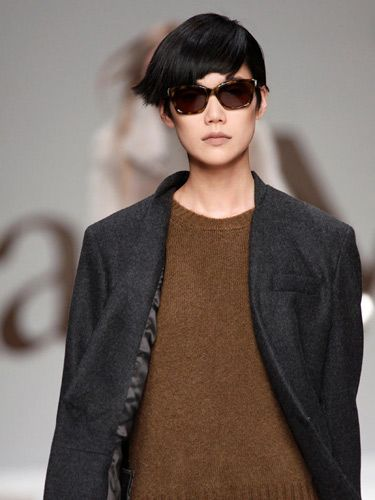 runway model in menswear blazer and sunglasses