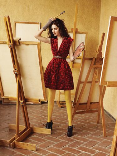 black and red velvet vneck dress over yellow tights