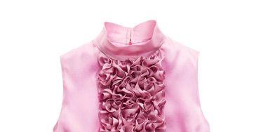 pink satin ruffled top