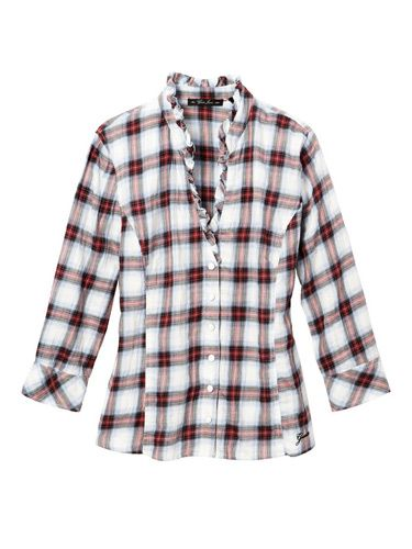 white and red flannel top