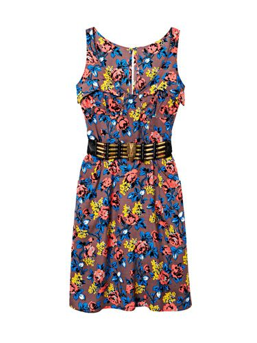 charlotte ronson printed dress and black and gold belt