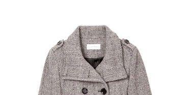gray tweed calvin klein coat and jcrew belt