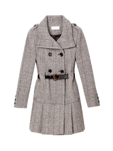 gray tweed calvin klein coat and jcrew belt
