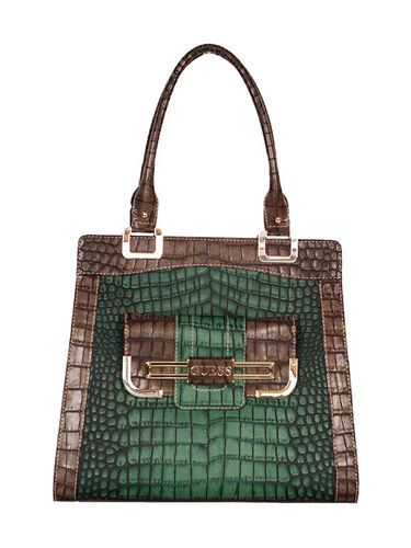 croc skin green guess bag