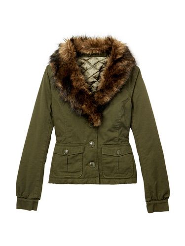 green jacket with fur collar