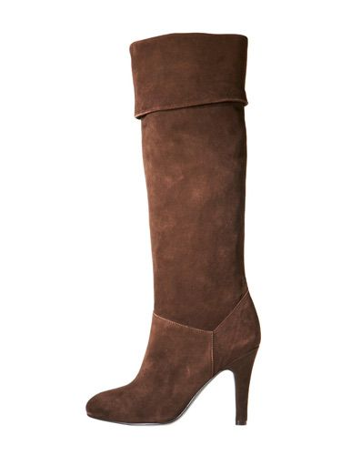 brown knee length velvet boots