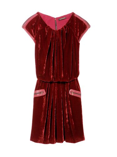 red velvet dress with zippered pockets