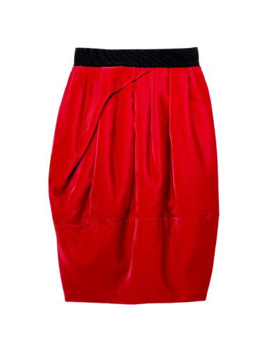 red velvet skirt with black waistband