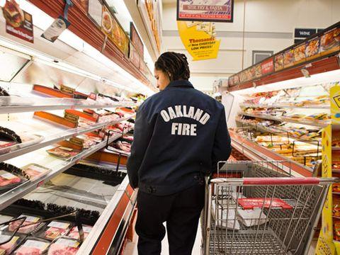 female firefighter grocery shopping