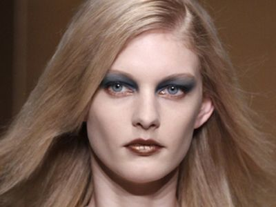 model with dark blue eye shadow