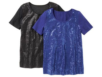 sequin black and blue tops