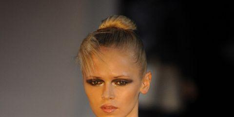 runway model with makeup