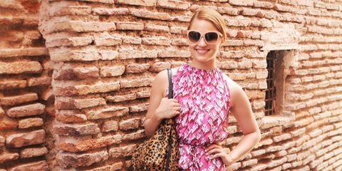 Clothing, Eyewear, Glasses, Sunglasses, Dress, Brick, Pink, Magenta, Purple, One-piece garment,