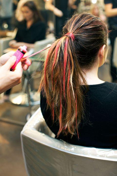 Human, Hairstyle, Pink, Style, Nail, Long hair, Brown hair, Hair coloring, Hair accessory, Brush,