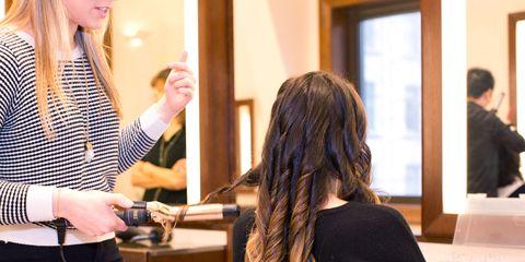 Hair, Hairstyle, Wrist, Long hair, Cable, Layered hair, Brown hair, Employment, Hair coloring, Beauty salon,