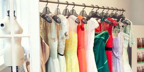 Room, Textile, Clothes hanger, Fashion, Shelving, Collection, Closet, Shelf, Boutique, Fashion design,