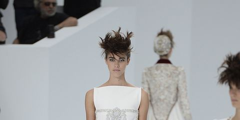 Clothing, Leg, Fashion show, Shoulder, Runway, Joint, Fashion model, Waist, Style, Dress,
