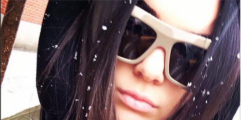 Eyewear, Vision care, Lip, Sunglasses, Beauty, Cool, Winter, Black hair, Eye glass accessory, Costume accessory,