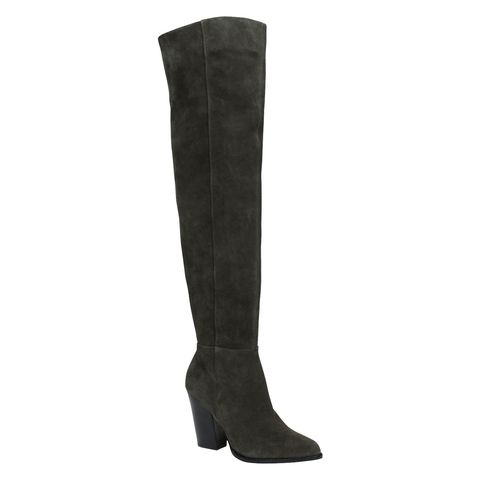 Boot, Black, Costume accessory, Leather, Knee-high boot,