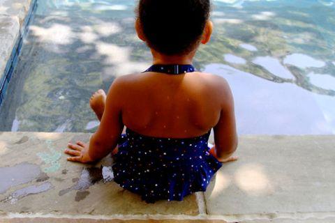 Blue, Fluid, Child, Back, Summer, Aqua, Toddler, Waist, Play, Polka dot,