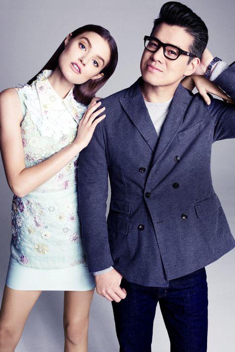 Clothing, Arm, Glasses, Dress shirt, Collar, Sleeve, Trousers, Coat, Shoulder, Shirt,