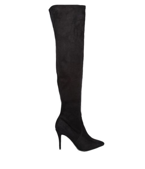 Boot, Costume accessory, Black, Leather, Court shoe, Knee-high boot, Fashion design, Dress shoe,