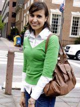 brunette girl in green sweater