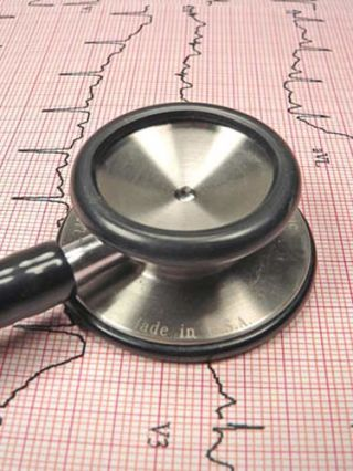 stethoscope and ekg printout