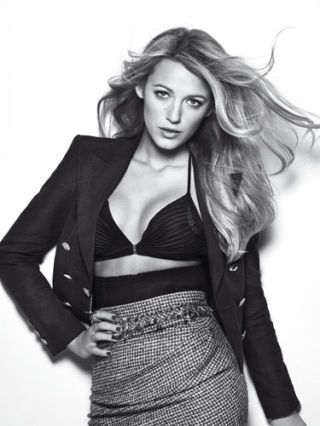 blake lively in chanel jacket bikini top and skirt