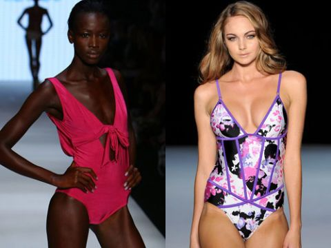 models wearing one piece swimsuits